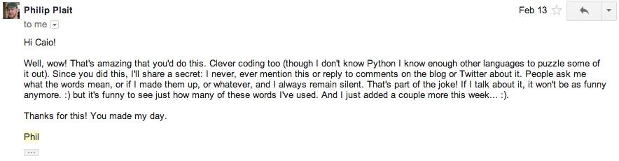 Resposta do Phil Plait sobre minha brincadeira :-)