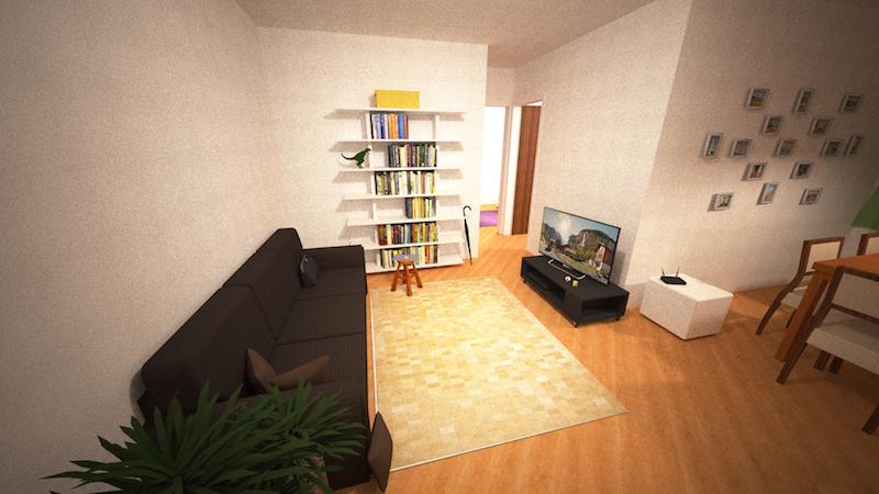 Sala vista da entrada do apartamento